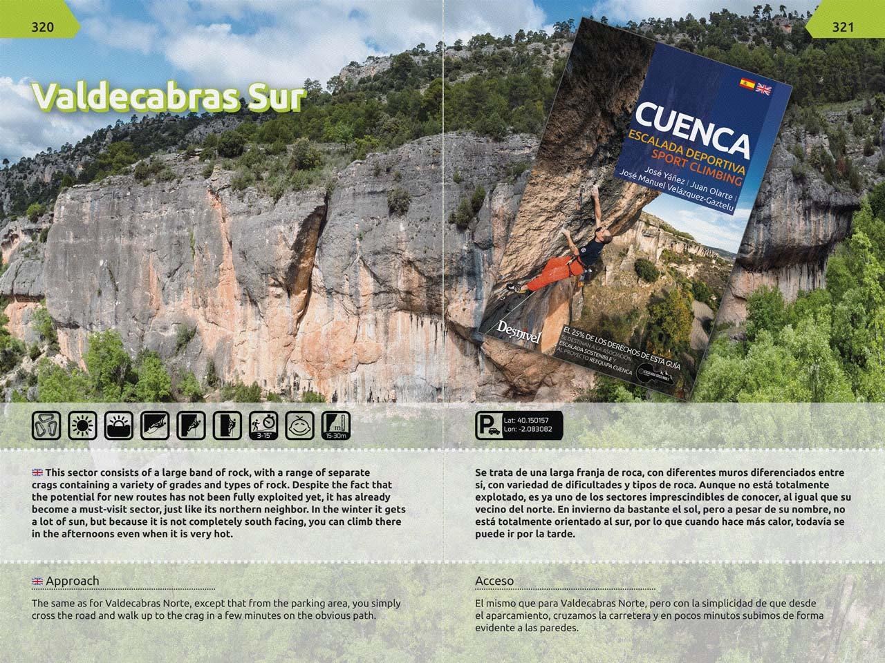 Nuevos iconos informativos. En inglés y castellano. Nueva guía de escalada en Cuenca